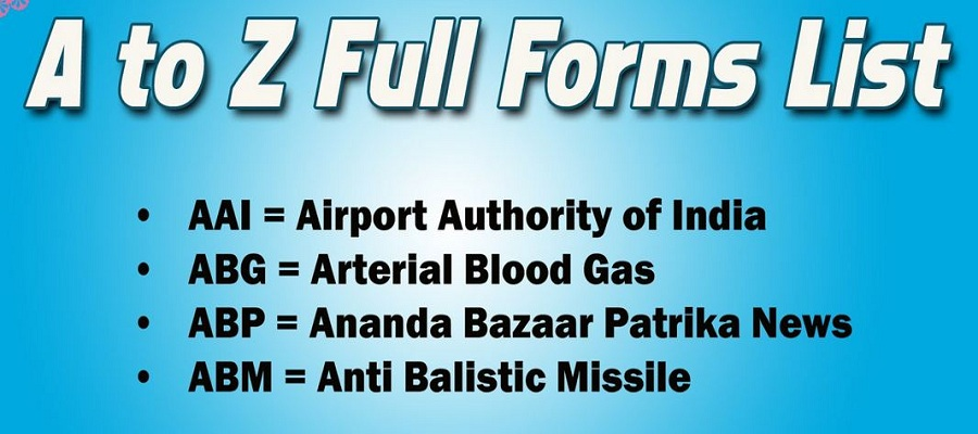 All Full Form List A to Z